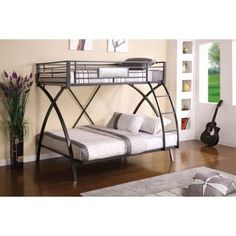 Furniture of America Pacey Contemporary Twin Over Full Bunk Bed, Gun Metal, Silver