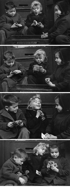 """""""The Cardplayers""""   by  Ruth Orkin  ::  New York City in 1943 -  Reminds me so much of you and Braeden (a good memory of Pup near Father's Day)"""