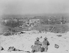 View over the crest of Vimy Ridge showing the village of Vimy , which was captured by Canadian troops , May 1917.