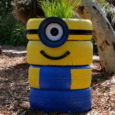 #minion #tyreart #repurposed #gardenart #planter #diy #planter