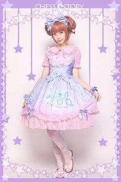 Sweet POLYESTER Dreamy Starry Night Print Chess Story Lolita JSK Vest Skirt