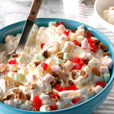 """Creamy Pineapple Fluff Salad Recipe -Guests of all ages will gravitate to this traditional """"fluff"""" salad, chock-full of pineapple, marshmallows and cherry bits. Dessert Salads, Fruit Salad Recipes, Dessert Recipes, Fruit Salads, Jello Salads, Food Salad, Fruit Dishes, Marshmallow Salad, Pineapple Fluff"""