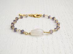 Holiday SALE - Iolite bracelet, Rainbow moonstone bracelet by SarittDesigns on Etsy