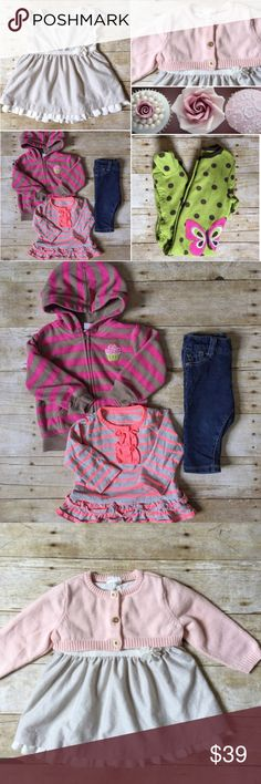 OLD NAVY & CARTERS 9M Baby Girl Bundle Perfect bundle for a little girl featuring a gorgeous (Old Navy) silver and ruffle party dress that comes with a matching pink cardigan, (CARTERS) fleece hoodie, (CARTERS) ruffle long sleeve tee, (Children's place) Jean leggings (leggings), and a (CARTERS) fleece pajama. A little bit of everything - for dress up, play, and sleep! All in excellent condition! Great bundle deal! Save more with bundle discount! Old Navy Matching Sets