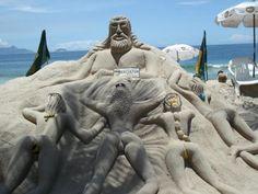 Sand sculptures, Brasil, Copacabana, Rio de Janeiro.