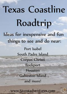 51 Cent Adventures: Texas Coastline Roadtrip Texas Vacations, Texas Roadtrip, Texas Travel, Vacation Trips, Family Vacations, Vacation Ideas, Cruise Vacation, Disney Cruise, Vacation Places