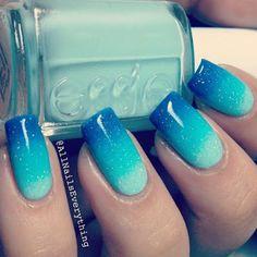 45 Inspirational Blue Nail Art Designs and Ideas - Latest Fashion Trends - Nails, Nails, and Nails - Blue Stiletto Nails, Blue Ombre Nails, Ocean Blue Nails, Gradient Nails, Acrylic Nails, Ombre Nail Art, Ombre Paint, Nail Polish, Trendy Nail Art