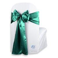 "100 pc Emerald Green 108""x8"" Satin Chair Cover Bow Sash"