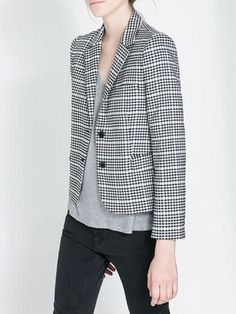 Vintage Gray Grid Blazer | Choies