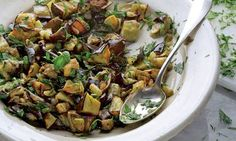 Yotam Ottolenghi's aubergine with herbs: Opens up a whole world of cooking possibilities? Photograph: Colin Campbell for the Guardian Herb Recipes, Side Dish Recipes, Vegetable Recipes, Vegetarian Recipes, Healthy Recipes, Veggie Food, Healthy Foods, Ottolenghi Recipes, Yotam Ottolenghi