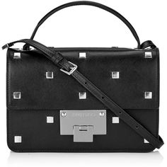 Jimmy Choo REBEL Black Smooth Leather with Square Studs Cross Body Bag (49,890 PHP) ❤ liked on Polyvore