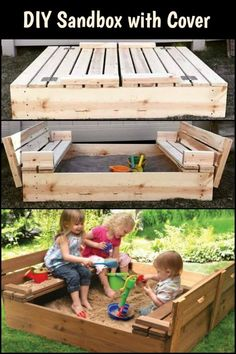 DIY Sandbox with Cover - Gundi L. - DIY Sandbox with Cover Sandboxes are a lot of fun. But when the kids are done, what do you do to keep cats away? Build a sandbox with cover to solve this problem. Cat Playground, Backyard Playground, Backyard For Kids, Backyard Projects, Outdoor Projects, Backyard Games, Build A Sandbox, Wooden Sandbox, Kids Sandbox