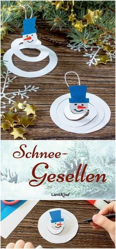 Landkind Spezial Crafts & Decoration - For the whole year - Basteln mit Kindern im Winter - Weihnachten - Very easy crafting idea: cute snowmen are always welcome in winter. If they are made of paper, they - Kids Crafts, Winter Crafts For Kids, Decor Crafts, Diy For Kids, Easy Crafts, Diy And Crafts, Paper Crafts, Kids Chrismas Crafts, Creative Crafts
