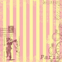 Paris Pink and Yellow Stripes, Printable Background
