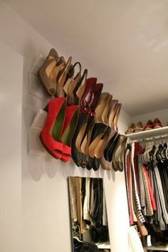 Shoe storage idea - crown molding shoe rack for the back of closet over shoe shelves. Shoe Storage Diy, Diy Shoe, Closet Storage, Cheap Storage, Smart Storage, Storage Hacks, Wall Storage, Bedroom Storage, Wardrobe Storage