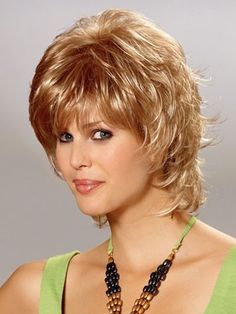 Chloe is a refreshing style with beautiful natural layers Mid Length Collection - Margu Wigs Color Shown: Type: Synthetic Wig Cap Size: Average Length. Shaggy Short Hair, Short Shag Hairstyles, Short Layered Haircuts, Short Hair Wigs, Human Hair Wigs, Wig Hairstyles, Straight Hairstyles, Short Hair With Layers, Short Hair Cuts For Women