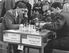 """In 1956, two magnificent players appeared on the chess horizon: the 13-year-old Bobby Fischer created """"the game of the century"""" against Donald Byrne at the U.S. Championship in New York and Tal played a dramatic, nail-biting game against Alexander Tolush in the last round of the Soviet Championship in Leningrad. Next year, both Fischer and Tal won the championships of their countries for the first time. In 1960 Tal became the world champion."""