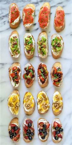 Top simple bruschetta with whipped ricotta and a variety of sweet and savory toppings for a party appetizer that's easy yet impressive.Bruschetta with Whipped Ricotta {wine glass writer} Brunch Recipes, Summer Recipes, Appetizer Recipes, Easy Recipes, Dinner Recipes, Sandwich Recipes, Tapas Recipes, Finger Food Recipes, Finger Foods For Party