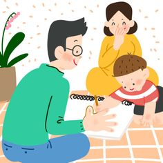 Niño dibujando con sus padres Mommy Humor, Family Illustration, Fine Motor Skills, Cool Kids, Pikachu, Kindergarten, Family Guy, Education, Fun