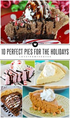 10 Perfect Pie Recipes For The Holidays. Such a great collection, peppermint, pecan, eggnog, chocolate, brownie, pumpkin and more!  Great for pies for Thanksgiving and pie recipes for Christmas.