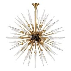 HUD9048AGB Sparta Large Foyer Chandelier Chandelier - Aged Brass