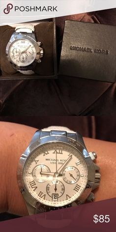 Michael Kors white leather chronograph watch Authentic Michael Kors watch. White leather band (can be swapped out for different colors too). New battery. Chronograph and date. Excellent used condition. Comes with original box and booklet. Michael Kors Accessories Watches