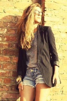 Shop this look on Kaleidoscope (blazer, tshirt, shorts, sunglasses, watch)  http://kalei.do/W5j1TCG3SA70hnQ3