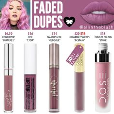 Lime Crime Faded Velvetine Liquid Lipstick Dupes - All In The Blush - Makeup Geek, Makeup Guide, Cute Makeup, Makeup Tools, Makeup Addict, Lime Crime Liquid Lipstick, Lipstick For Fair Skin, Lipstick Dupes, Lipsticks