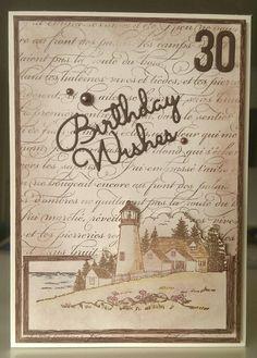 Male 30th birthday card. Heartfelt creations High Seas. Stampin up en Francais BW 7/16