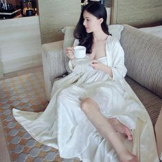 Two Pieces Set Queen Robe Dress Gorgeous Vestidos Sexy Lingerie Just look, that`s outstanding! Visit us