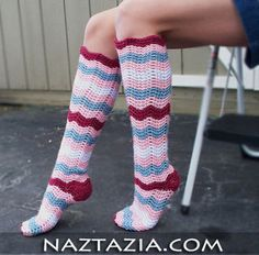 Crochet ripple knee high socks