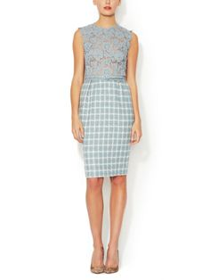 Lace and Tweed Belted Sheath Dress Valentino blue checks
