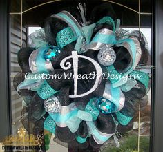 Black and Turquoise Christmas Wreath  letter of by lilmaddydesigns, $115.00