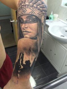 Native American Half Sleeve Indian Tattoo