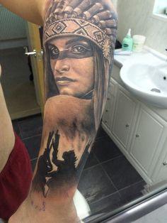 Native American Half Sleeve Indian Tattoo