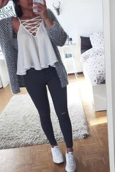 teen-fashion-outfit-ideas-for-school-ripped-jeans-converse-sneakers-sweater-crop-top-hoodie #fashionableoutfits,