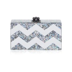 Edie Parker Jean Chevron Clutch In Brilliant Star And Mirror (€1.230) ❤ liked on Polyvore featuring bags, handbags, clutches, silver, star purse, chevron handbags, edie parker handbags, chevron purses and locking purse