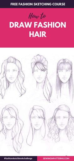 Wanna make fashion design sketches? Wonder how fashion designer sketches are made? Join this free online course that helps you with fashion illustration or fashion sketching and dressmaking. Even if you don't know how to draw fashion sketches. Fashion Design Inspiration, Fashion Design Portfolio, Fashion Design Drawings, Fashion Sketches, Drawing Fashion, Art Portfolio, Fashion Illustration Face, Hair Illustration, Illustration Techniques
