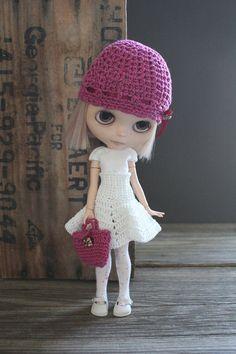 Blythe Crochet jupe/jupe taille haute blanc OOAK prêt par pinkujane