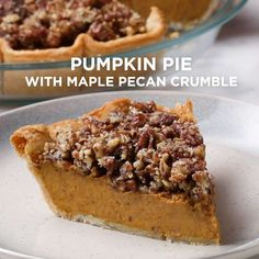 Pumpkin Pie With Maple Pecan Crumble Recipe by Tasty - Baking - Pie Recipes Crumble Pie, Crumble Recipe, Pumpkin Pie Cheesecake, Pumpkin Pie Recipes, Pumpkin Puree, Pecan Pumpkin Pie, Cheesecake Recipes, Pecan Pies, Pumpkin Pie Crisp Recipe