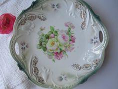Vintage Bavarian Pink Green Floral Handled Serving Plate
