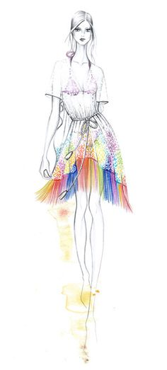 Sketch of the Matthew Williamson Rainbow Lace Kaftan