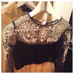 Beautiful black long sleeve lengha or sari blouse by Kuvira London! #lehenga #bollywood #fashion #anarkali #indian #designer