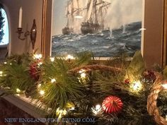 Adding a thick rope, as garland, adds that little touch of New England style nautical.