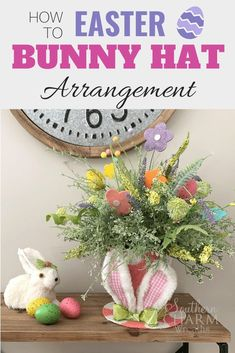This DIY whimsical easter bunny hat arrangement would be so cute on your table for Easter or as a decoration to bring a little brightness to your home. Follow the tutorial video and make your own or create one as a gift. Easter Flower Arrangements, Artificial Flower Arrangements, Floral Arrangements, Coaster Crafts, Cork Crafts, Easter Crochet Patterns, Bunny Hat, Diy Easter Decorations, Do It Yourself Crafts