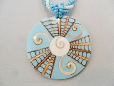 Vintage Blue Lucite Pendant Necklace Inlaid Shell by KathiJanes