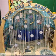 Reading area - under the sea Reading Corner Classroom, Year 1 Classroom, Eyfs Classroom, Classroom Layout, Classroom Themes, Book Corner Eyfs, Preschool Reading Area, Reception Classroom Ideas, Classroom Design