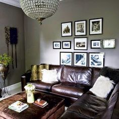 Merveilleux New Grey Living Room Color Would Look Good With My Black N White Picture  Wall And Leather Couch.