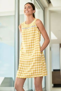 Womens Next Yellow Gingham Linen Blend Shift Dress - Yellow Casual Summer Dresses, Party Dresses For Women, Gingham Dress, Yellow Dress, Holiday Fashion, Holiday Style, Women's Fashion, One Piece Dress, Evening Dresses