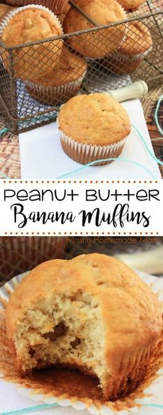 Peanut Butter Banana Muffins are the perfect low sugar breakfast or snack for your family! Made with flour mashed bananas creamy peanut butter eggs milk and butter. Make some for now and freeze some for later! Peanut Butter Banana Bread, Healthy Peanut Butter, Creamy Peanut Butter, Healthy Food, Healthy Nutrition, Healthy Kids, Nutrition Articles, Nutrition Guide, Healthy Recipes